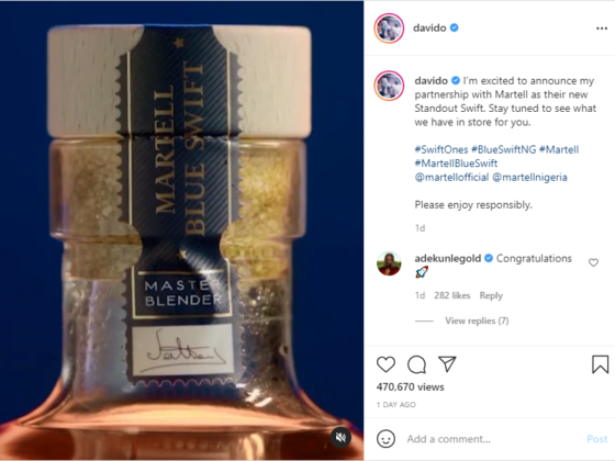 Davido Inks New Endorsement Deal with Martell   NotjustOK