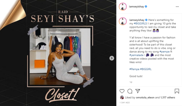 Seyi Shay Wants Ten Ladies To Raid Her Closet, Find Out How