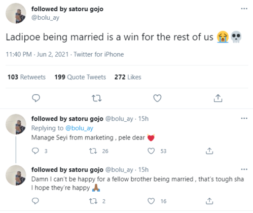 Here's How People Are Reacting to News of Ladipoe Being Married