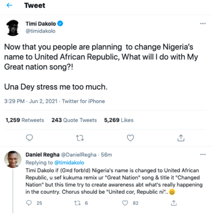 Timi Dakolo on Nigeria's proposed change of name to United African Republic