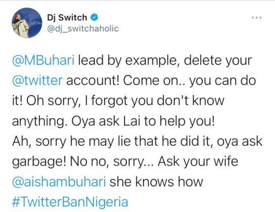 #KeepItOn: DJ Switch Asks President Buhari to Lead By Example, Here's How