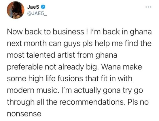 Jae5 Wants to Work With Ghanaian Artists Next | NotjustOK