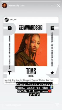 Tems Grabs BET Awards Nomination for Best New International Act