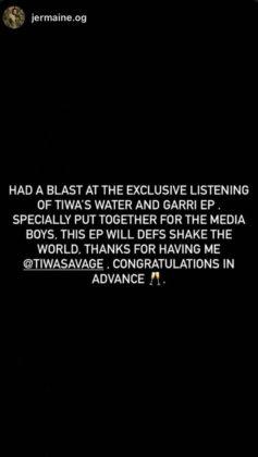 Tiwa Savage Water and Garri EP