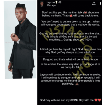 Read Laycon Message to Fake Friends | NotjustOK