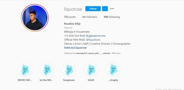 BBNaija Liquorose is First Housemate to Get 1 Million Instagram Followers NotjustOK