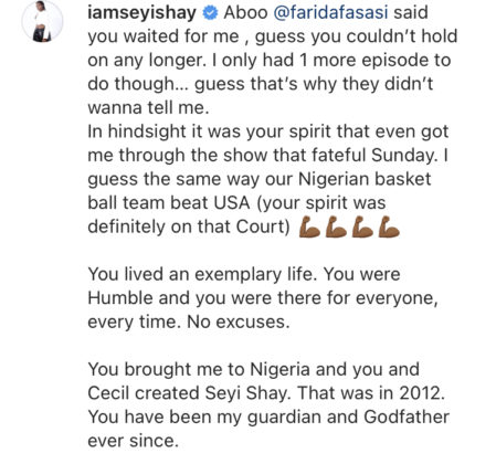 Read Seyi Shay Emotional Tribute to Sound Sultan