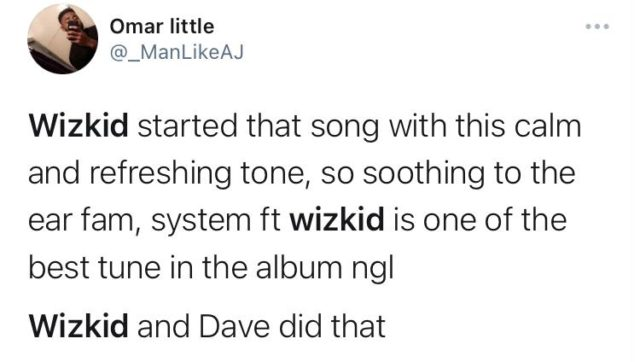See The Top Reactions to Wizkid Verse on Dave System Song