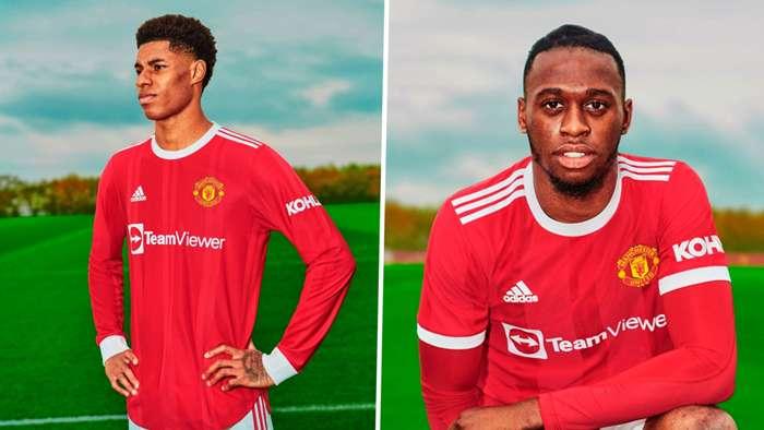 Marcus Rashford and Aaron Wan Bissaka posing in their new home kits