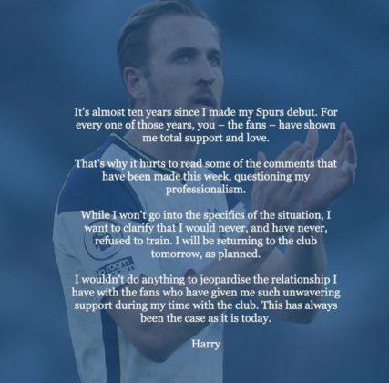 Harry Kane statement