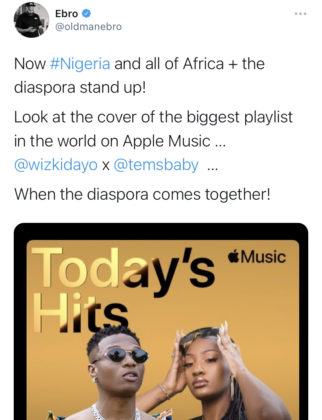 Wizkid and Tems Cover Apple Music Today Hits Playlist NotjustOK