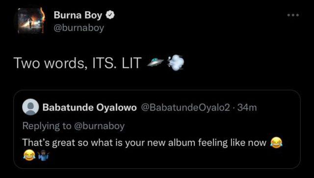 Read Burna Boy Message on Twice As Tall One Year Anniversary Twitter NotjustOK