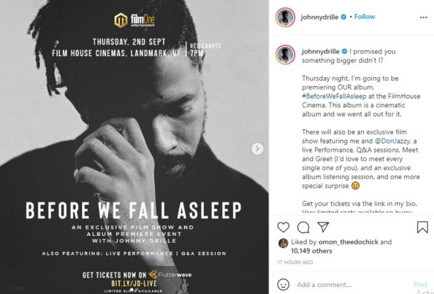 Johnny Drille to Hold Film Show for New Album Exclusive Listening NotjustOK