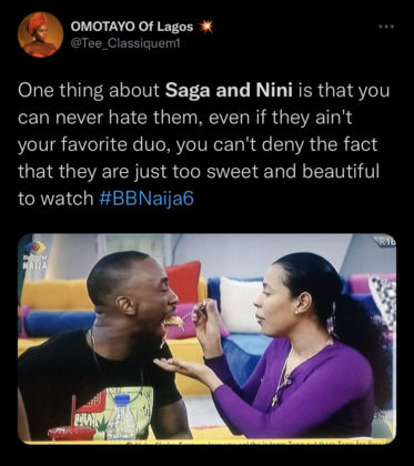 BBNaija Update Saga and Nini Relationship Sparks Online Discussion Reactions Twitter NotjustOK