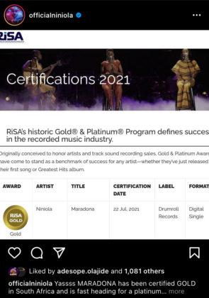 Niniola Maradona Certified Gold in South Africa notjustok