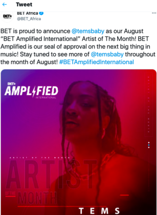 Tems BET Amplified