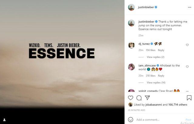 Justin Bieber Thanks Wizkid for Having Him on Essence Remix NotjustOK