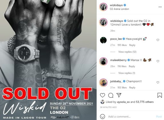 Wizkid O2 Tickets Sold Out in Record Time NotjustOK