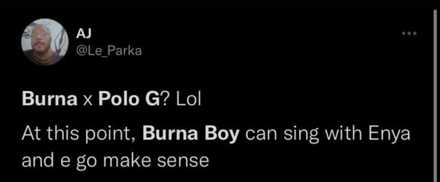 See Reactions to Burna Boy Announcing New Single with Polo G NotjustOK
