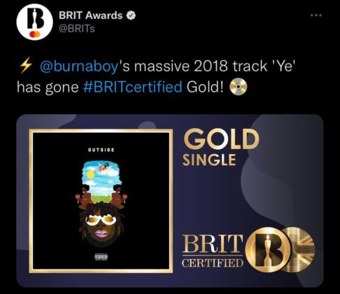 Burna Boy Ye Certified Gold in The UK Details NotjustOK