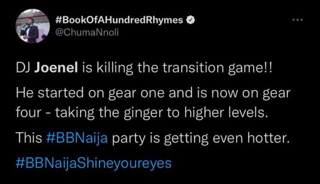 BBNaija Updates Fans Hail DJ Joenel Impressive Party Night Set Reactions NotjustOK