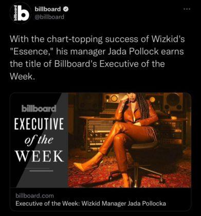 Wizkid Manager Jada Pollock Named Billboard Executive of The Week NotjustOK