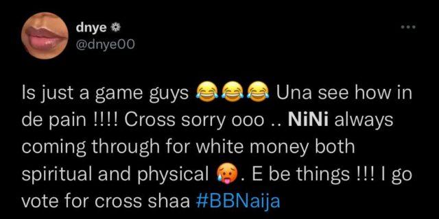 BBNaija Updates Nini Becomes HoH Puts Cross Up for Eviction Reactions NotjustOK
