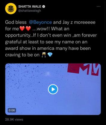 Shatta Wale Expresses Appreciation Following MTV VMA Nomination