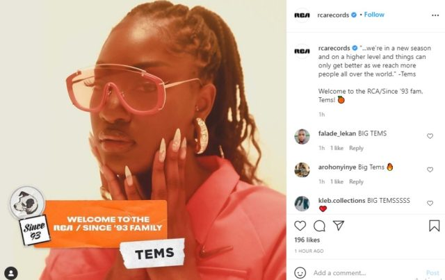 RCA Records Announce Tems Signing Read NotjustOK