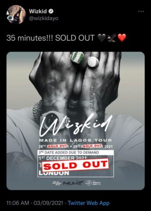 Wizkid'Third Date for O2 Arena Concert Sold Out in 35 Minutes NotjustOK